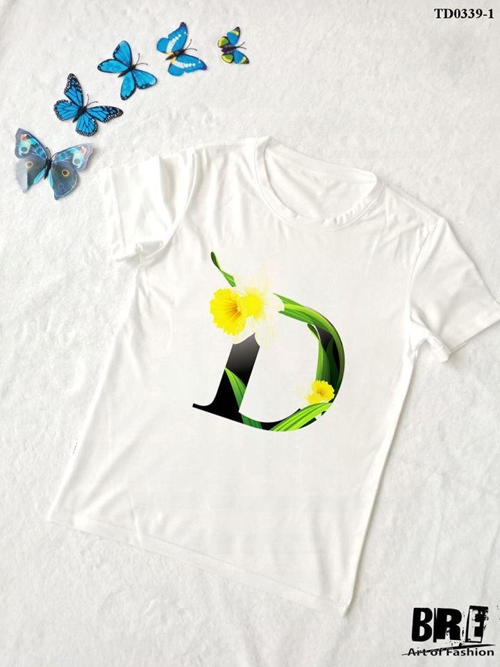 Áo thun chữ cái hoa D (TD0339-1)