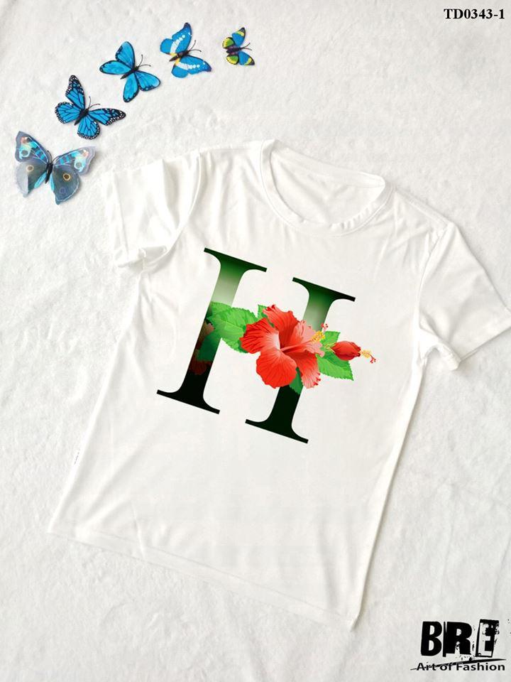Áo thun chữ cái hoa H (TD0343-1)