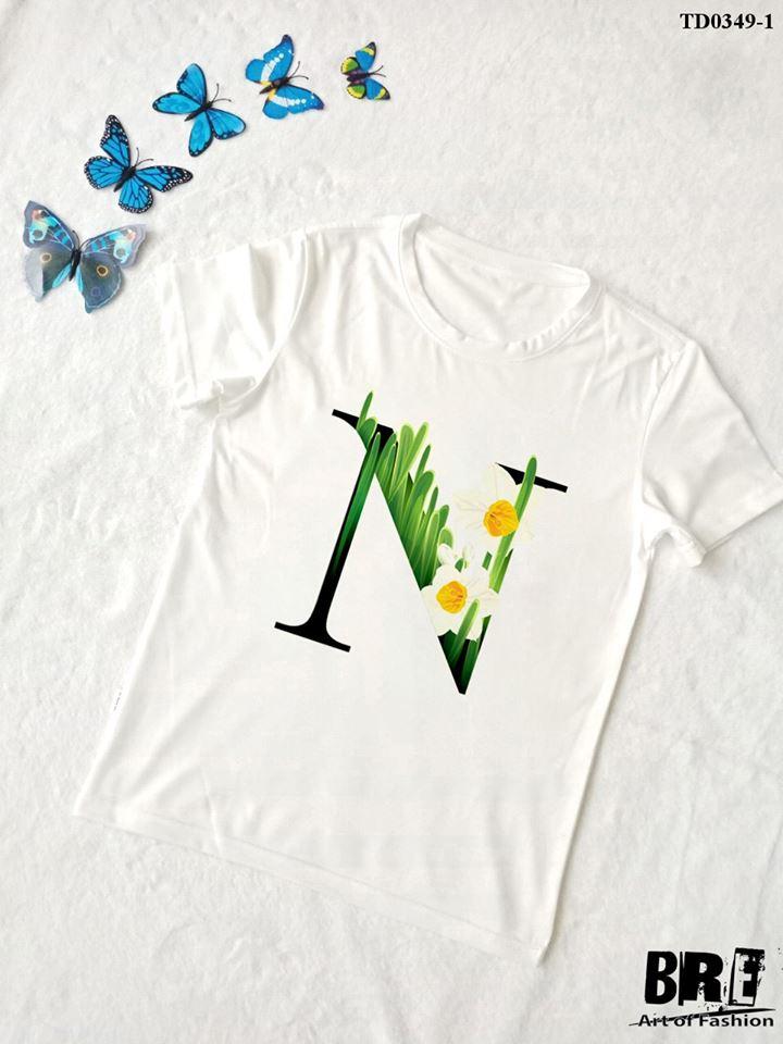 Áo thun chữ cái hoa N (TD0349-1)