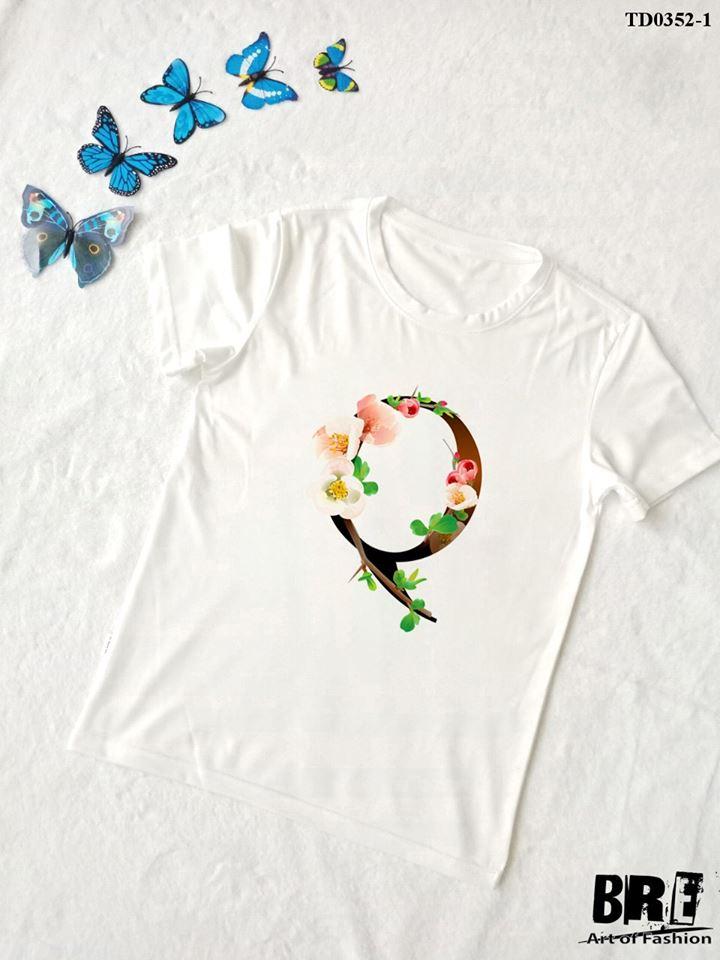 Áo thun chữ cái hoa Q (TD0352-1)