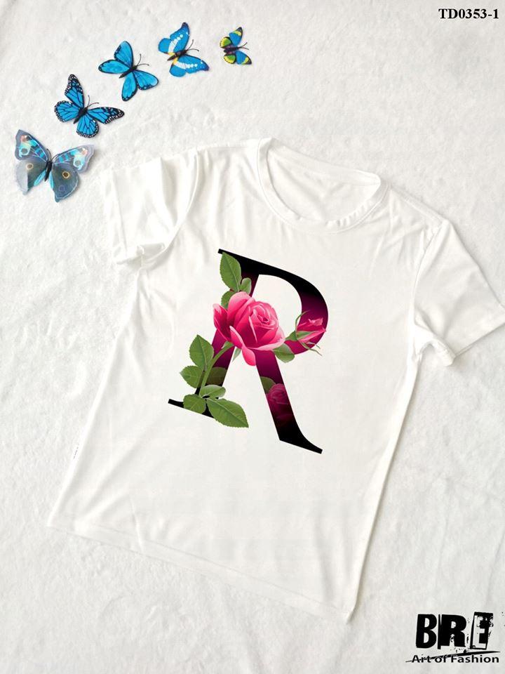 Áo thun chữ cái hoa R (TD0353-1)