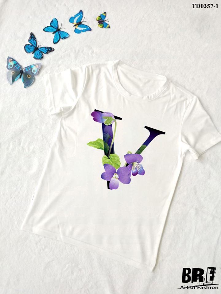 Áo thun chữ cái hoa V (TD0357-1)