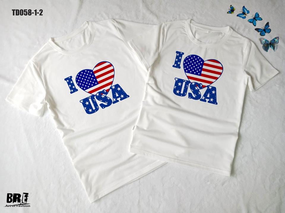 Áo thun in cờ Mỹ COMY14 ( TD058)