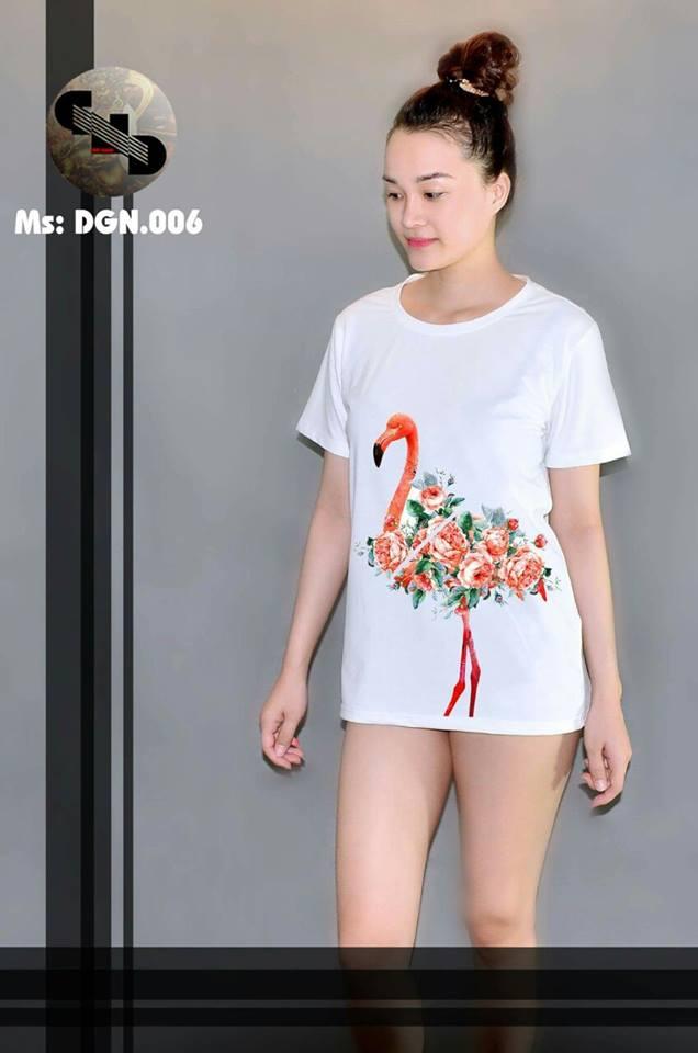Áo thun nữ in hình chim hồng hạc 06 ( mẫu DGN006)