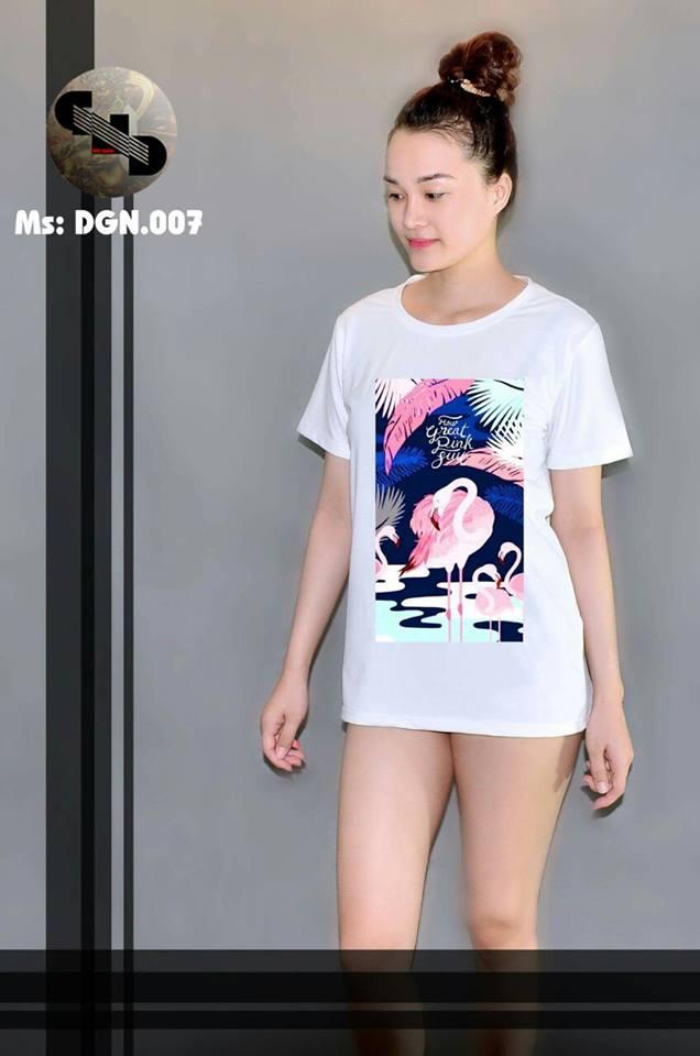 Áo thun nữ in hình chim hồng hạc 07 ( mẫu DGN007 )