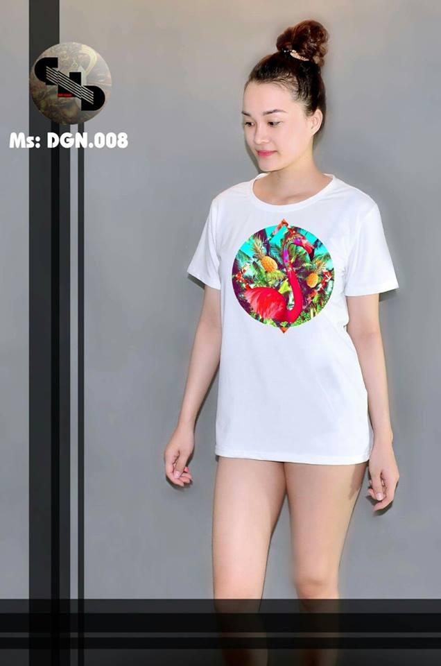 Áo thun nữ in hình chim hồng hạc 08 ( mẫu DGN008)