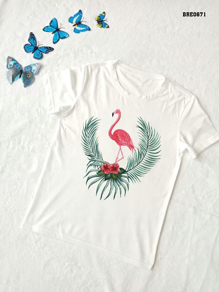Áo thun nữ in hình chim hồng hạc 16 ( mẫu BRE0671)