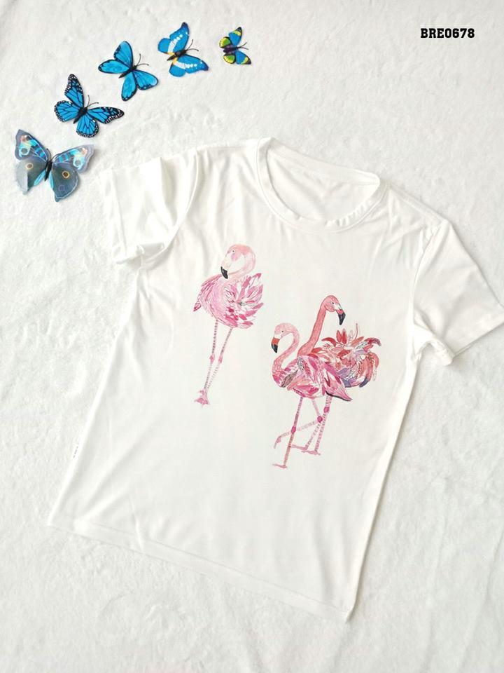 Áo thun nữ in hình chim hồng hạc 22 ( mẫu BRE0678)