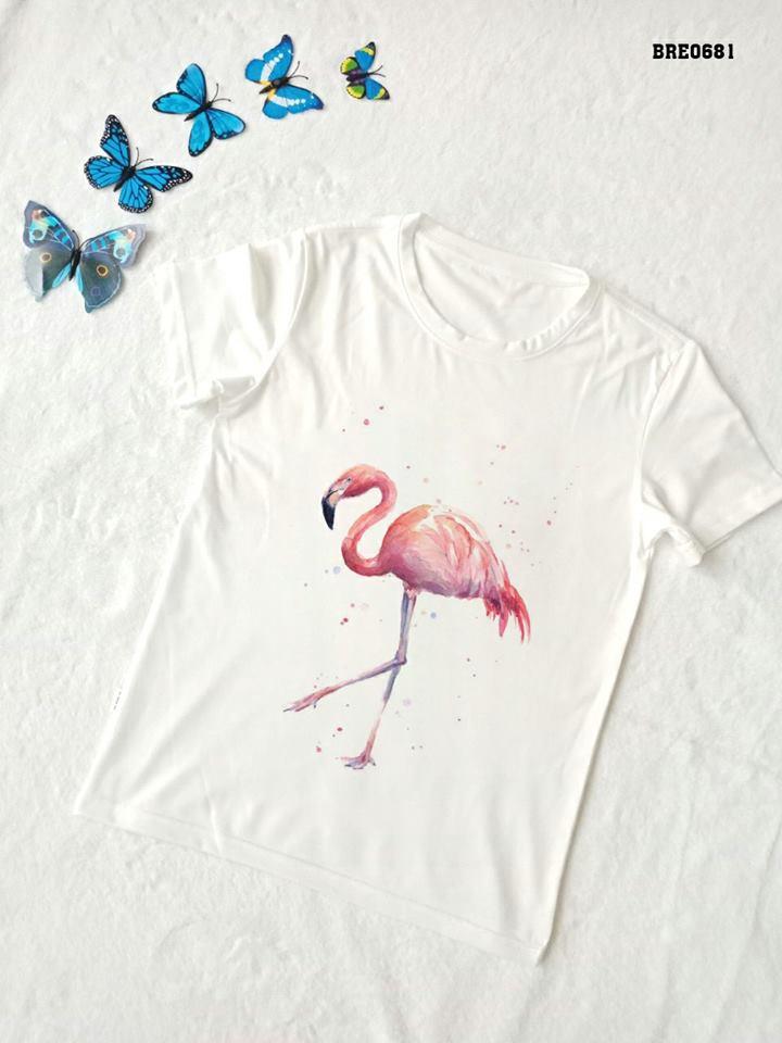 Áo thun nữ in hình chim hồng hạc 25 ( mẫu BRE0681)