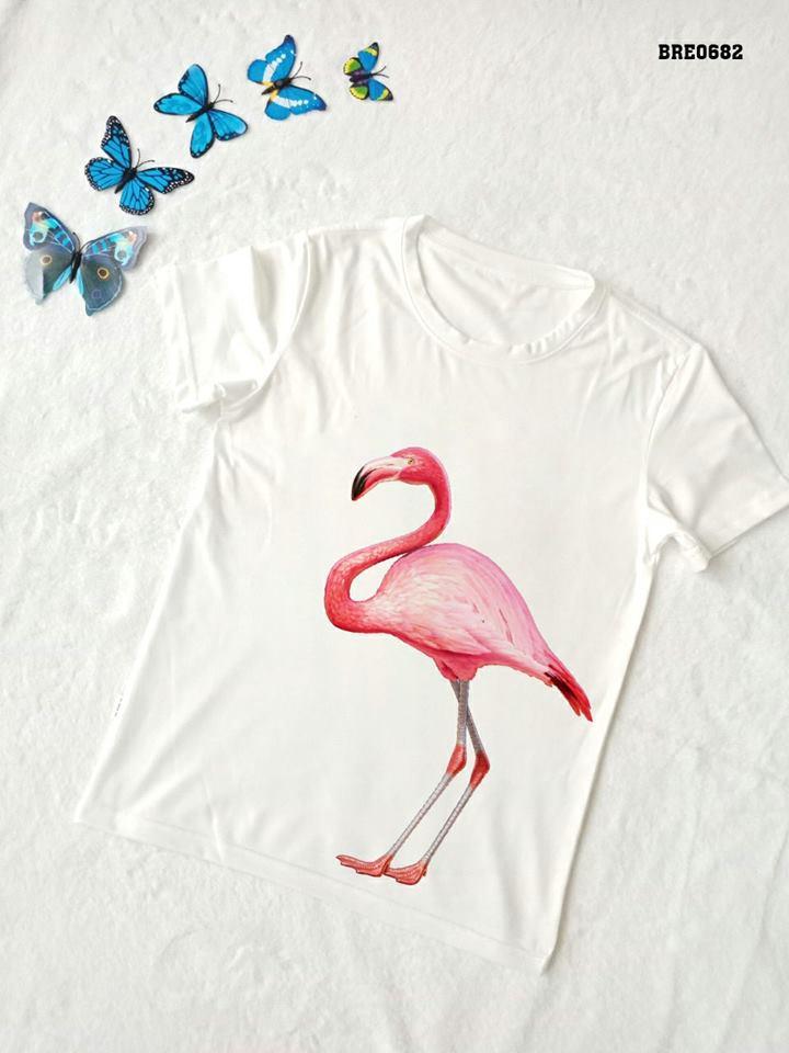 Áo thun nữ in hình chim hồng hạc 26 ( mẫu BRE06812