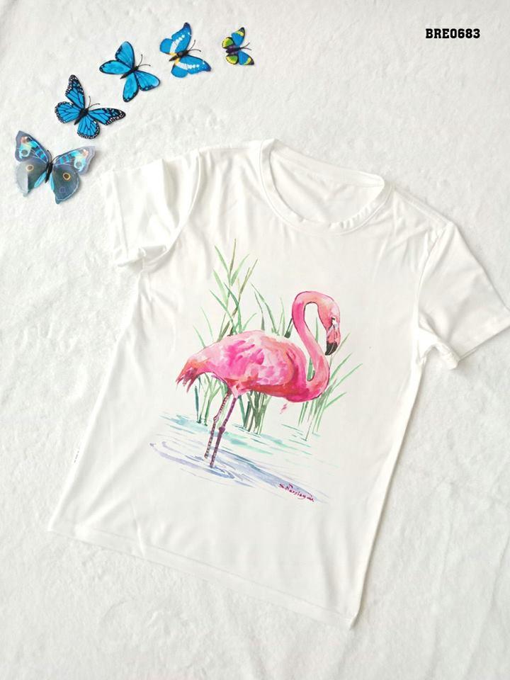 Áo thun nữ in hình chim hồng hạc 27 ( mẫu BRE0683)