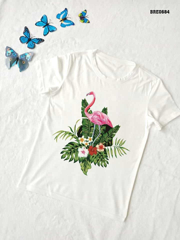 Áo thun nữ in hình chim hồng hạc 28 ( mẫu BRE0683)