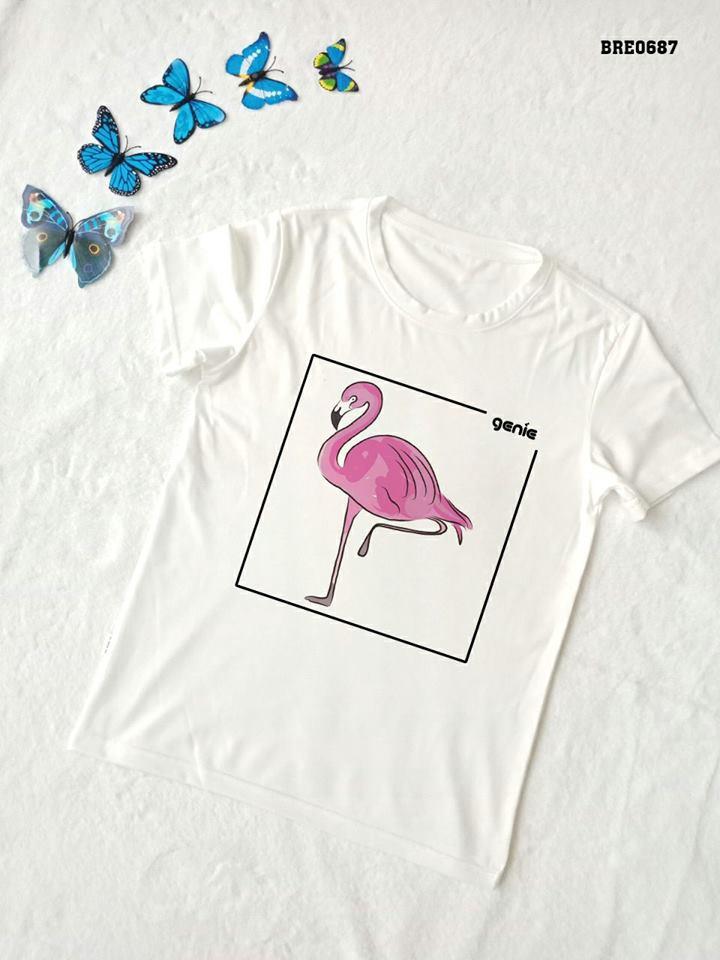 Áo thun nữ in hình chim hồng hạc 31 ( mẫu BRE0687)