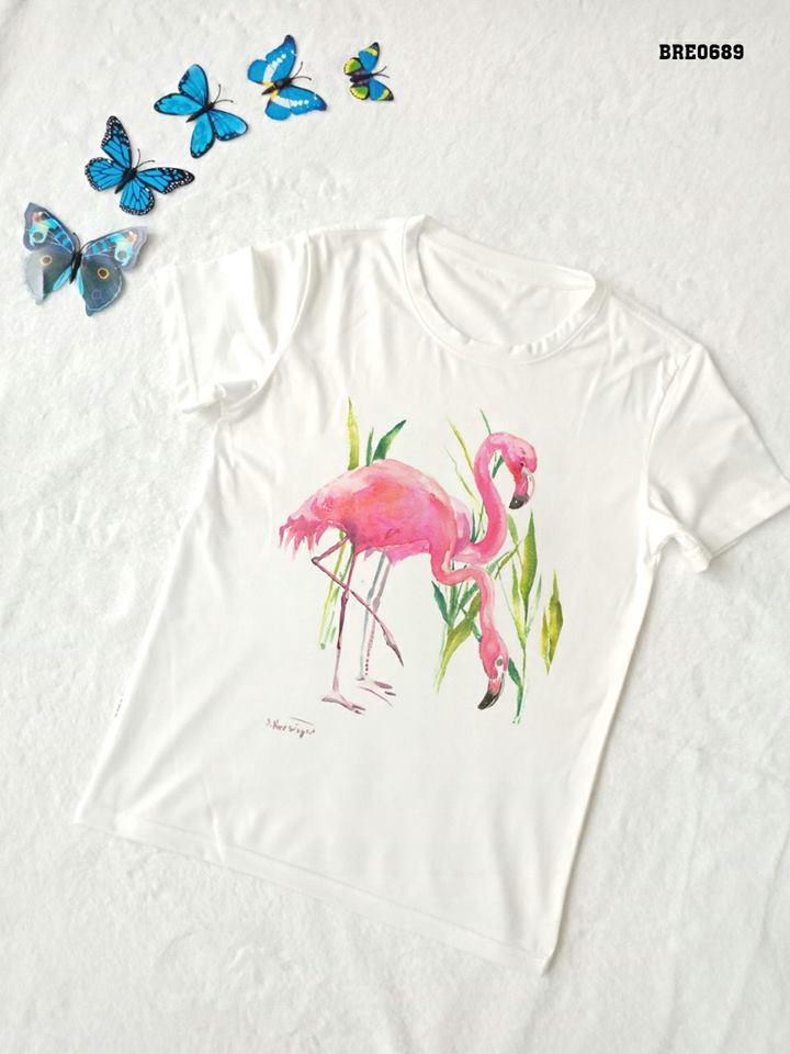 Áo thun nữ in hình chim hồng hạc 33 ( mẫu BRE0689)