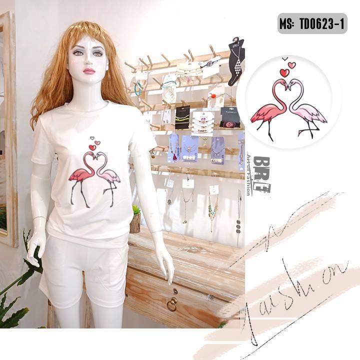 Áo thun nữ in hình chim hồng hạc 40 ( mẫu TD0623)
