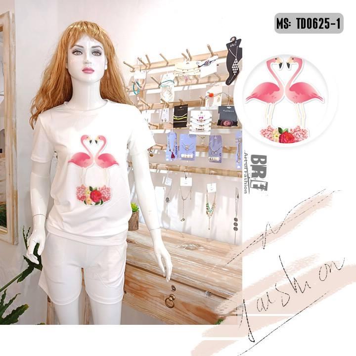 Áo thun nữ in hình chim hồng hạc 42 ( mẫu TD0625)