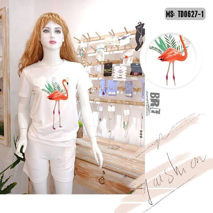 Áo thun nữ in hình chim hồng hạc 44 ( mẫu TD0627)