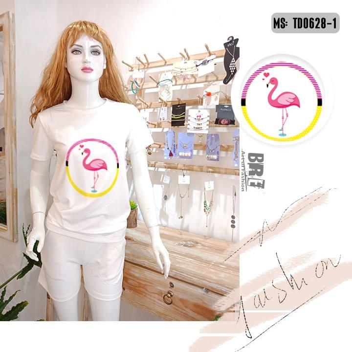 Áo thun nữ in hình chim hồng hạc 45 ( mẫu TD0628)