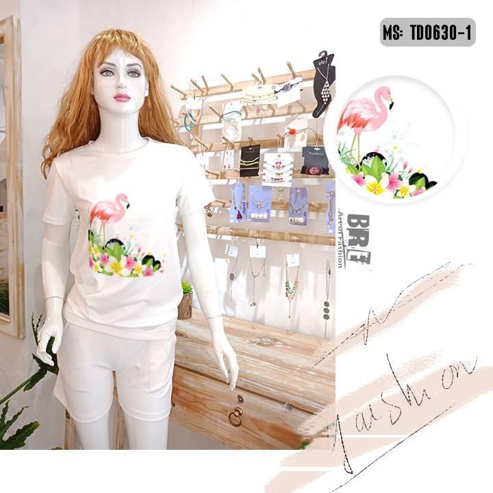 Áo thun nữ in hình chim hồng hạc 49 ( mẫu TD0630)