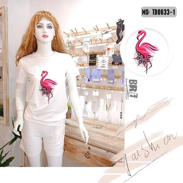 Áo thun nữ in hình chim hồng hạc 50 ( mẫu TD0633)