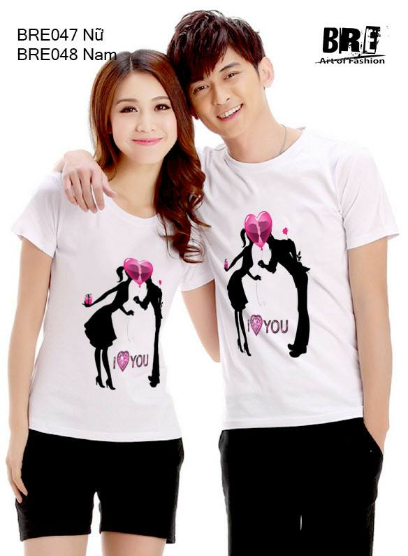 Áo cặp đôi I LOVE YOU tim hồng AD45 ( BRE047 -BRE048)