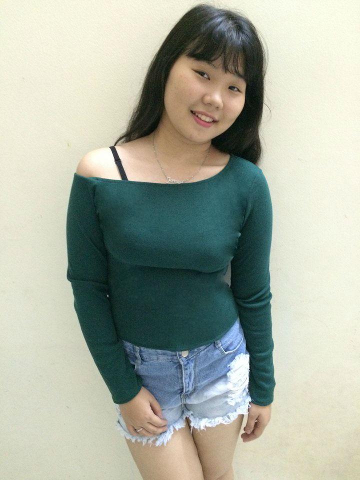 Áo thun nữ tay dài trễ vai xanh ve chai TNU114